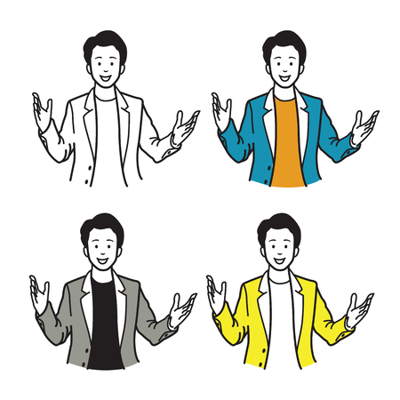 Smiling and speaking businessman, presenting with raising two hands and palms open gesture. Vector illustration character, sketch, draw, doodle, cartoon, and line style design.