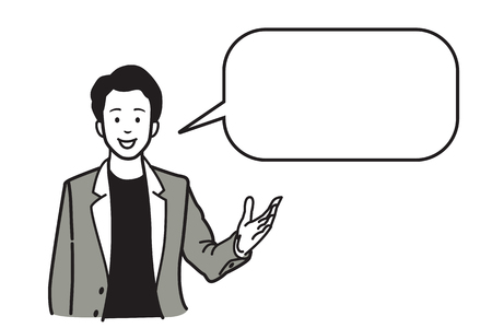 suite: Smiling and speaking businessman, presenting with raising hand and palm open gesture, and speech bubble for copy space. Vector illustration character, sketch, line hand draw style design. Illustration