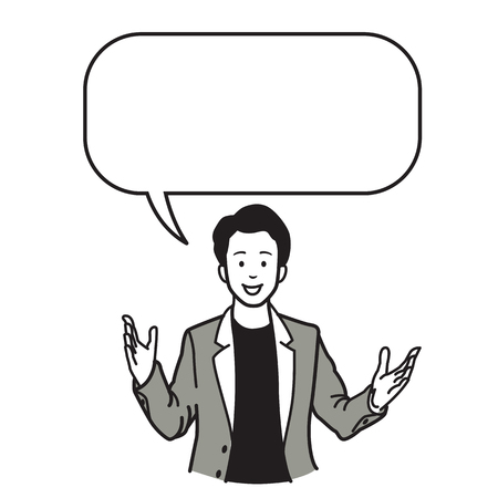 Smiling and speaking businessman, presenting with raising two hands and palms open gesture and speech bubble. Vector illustration character, sketch, draw, doodle, cartoon, and line style design.