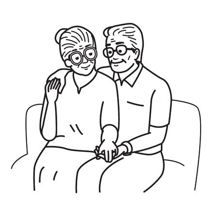 Smiling and happy romantic senior couple lovers, holding hands, sitting together at sofa, sharing love last long moment. Vector illustration, cartoon and doodle character, outline sketching, drawing style. Vettoriali