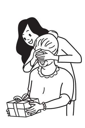 Beautiful young girl covering her mome eyes with both hands to surprise mother by giving special gift box. Vector illustration character, hand draw and sketch design, black and white outline style.