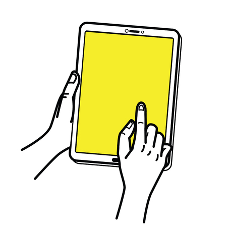 Vector illustration of hand holding tablet with figer pointing and touching at screen. Hand draw, line sketch design.