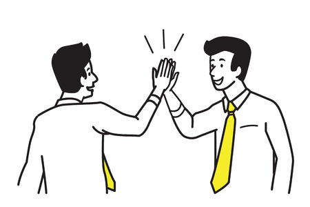Businessman giving high five motivation to his partner, colleague, friend. Business concept of cooperation, partnership, celebration, enjoyment. Vector illustration character, draw, sketch, doodle style. Illustration