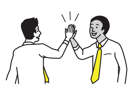 Businessman giving high five motivation to his partner, colleague, friend. Business concept of cooperation, partnership, celebration, enjoyment. Vector illustration character with multi-ethnic, draw, sketch, doodle style. Illustration