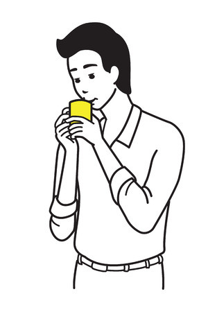 sipping: Young office worker, businessman, drinking coffee. Outline or line sketch, hand draw illustration style. Illustration