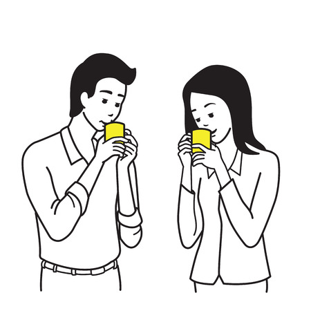 sipping: Young office worker, businesswoman and businesswoman, drinking coffee in the break time. Outline or line sketch, hand draw illustration style.