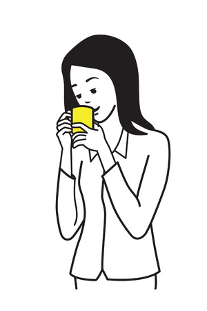 sipping: Female young office worker, businesswoman, drinking coffee. Outline or line sketch, hand draw illustration style.
