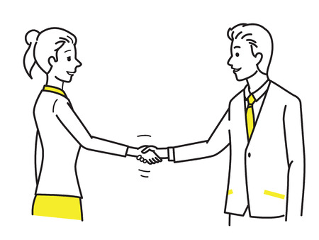 Businesswoman and businessman shaking hands in business concept of corporation, agreement, making friends, greeting, meeting. Outline hand drawing style. Simple design.