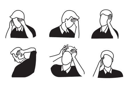 Vector illustration outline hand drawing style of man get pain at his head, headache, in various gesture. Black and white tone.