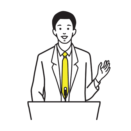 Man, businessman standing and speaking at a podium. Outline hand drawing sketching style, simple design.