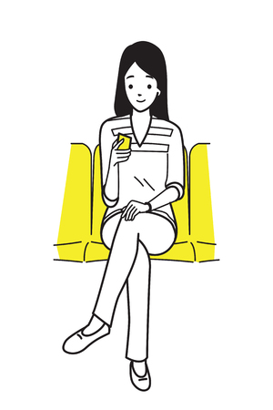 Young woman holding and using smartphone, sitting in subway. Outline or line hand drawing style. Vector illustration character, cartoon, doodle design.