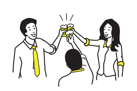 suite: Three of businessman and businesswoman, office workers, holding glasses of beer, to celebrate in concept of happy, special occasion, weekend, cheerful party, success. Outline, linear, hand drawing style. Simple design.