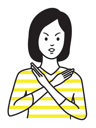 Woman making no hand sign or x symbol, crossing hands, expressing negative feeling, rejection, displeased. Outline hand draw sketching design, simple style.