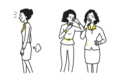rumour: Business woman farting make a bad smell and stinks, while her colleague, friends, coworker, looking at her and covering their nose. Funny cartoon illustration, outline hand draw sketching style. Illustration