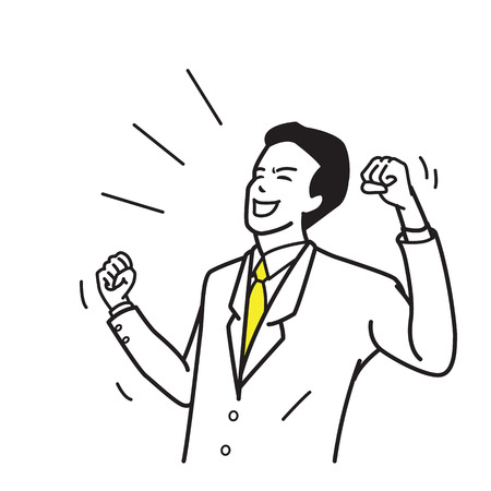 Character of office worker, businessman, suite man, holding fists, celebrating, shouting, happy, excited, winning in success. Outline hand draw, sketch design, simple style. Illustration