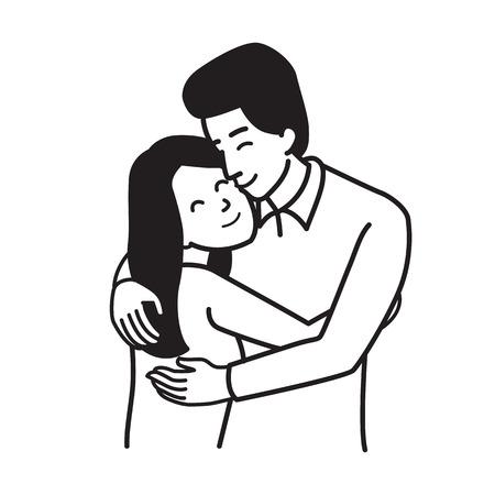 Vector el carácter del ejemplo del hombre y de la mujer, pareja del amante, abrazándose, unidad, romance, felicidad, concepto del día de tarjeta del día de San Valentín. Esquema mano dibujar estilo de dibujo, diseño simple.