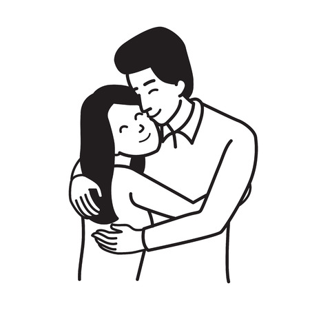 Vector illustration character of man and woman, lover couple, hugging each other, togetherness, romance, happiness, valentine's day concept. Outline hand draw sketching style, simple design.