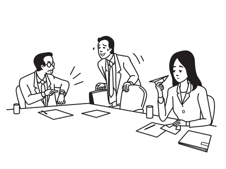 hurried: Businessman, office worker, has come meeting late as manager and coworker waiting. Business concept in being late habit in job. Outline hand draw sketch style, simple black and white design. Illustration