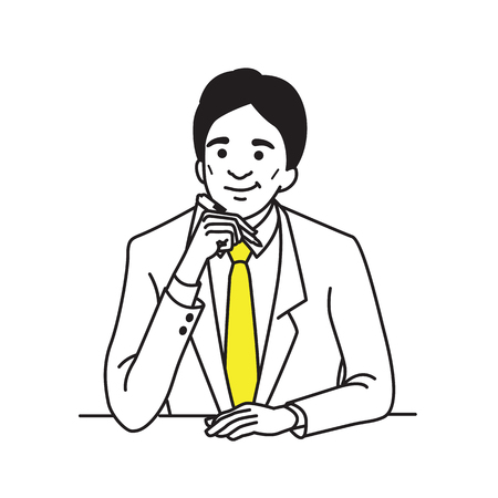 Vector illustration character of businessman, suiteman,  boss, manager, in middle age, holding pen and thinking. Outline hand draw sketching style. Illustration