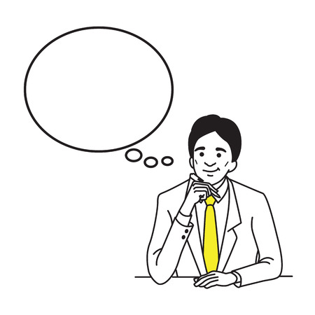 Vector illustration character of businessman, suiteman,  boss, manager, in middle age, holding pen and thinking. Outline hand draw sketching style. 向量圖像