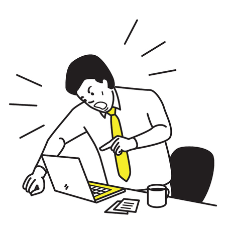 workplace stress: Vector illustration of frustrated and furious businessman shouting and screaming screen laptop on his working desk. Outline hand draw sketching design, simple style. Illustration