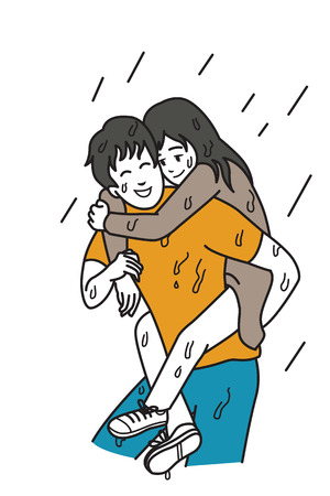bad weather: Man carry his girlfriend on his back among rainy day, cartoon illustration of relationship concept in always supporting and helping in any bad day or situation. Outline hand draw sketching design, simple style. Illustration