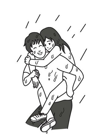 De mens draagt zijn meisje op zijn rug onder regenachtige dag, beeldverhaalillustratie van verhoudingsconcept in altijd steunend en helpend in om het even welke slechte dag of situatie. Overzicht hand tekenen schetsen ontwerp, zwart-wit toon stijl.