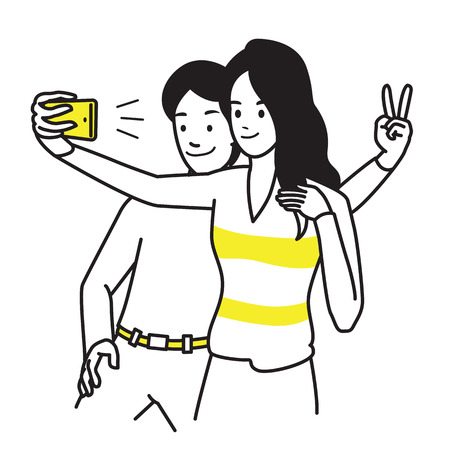 Selfie lover couple. Vector illustration portrait character of young man and woman, holding smartphone, making selfie photo with smile and happiness. Outline hand draw sketching style.
