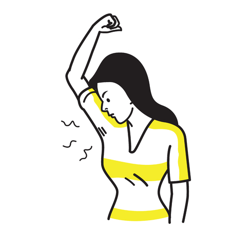 Vector illustration character of woman sniffing and smelling her bad smell wet armpit. Bad feeling facial emotion expression. Outline hand draw sketching simple style.