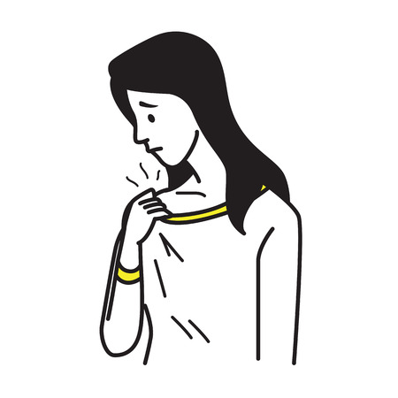 Vector illustration portrait of woman holding t-shirt, and smell somethink stinks, sniffs herself. Healthcare concept in hygiene of body and clothes. Outline hand draw sketching design, simple style.