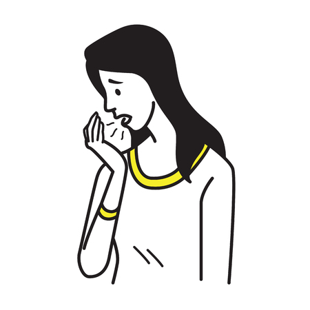Vector character portrait of pretty woman breath to her palm, and problem with bad stinky breath, halitosis. Outline hand draw sketching design, simple style  イラスト・ベクター素材