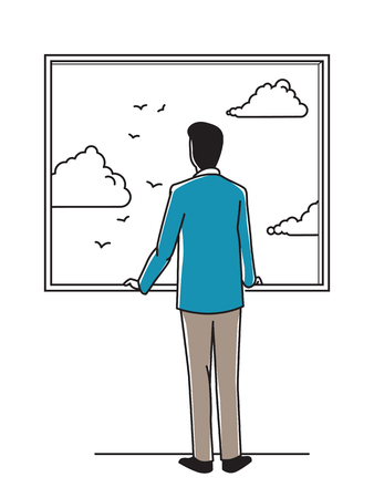 suite: Businessman, suite man, looking out through window to relax, thinking, seeing bright sky with white cloud and flying birds. Concept of positivity. Outline hand drawing style.