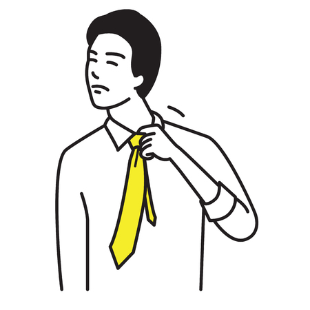 Businessman pull collar and tie, body language in feeling hot, annoyed, frustrated, angry. Outline, line, linear, art, hand drawn sketch design, simple style.