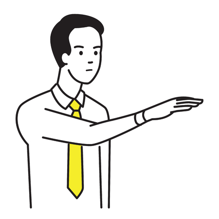 Businessman showing body language with raised hand and gesturing palm down, meaning to aggressive, authority, dominance or unsatisfied. Vector illustration character portrait, outline hand draw sketch style, simple design. Illustration