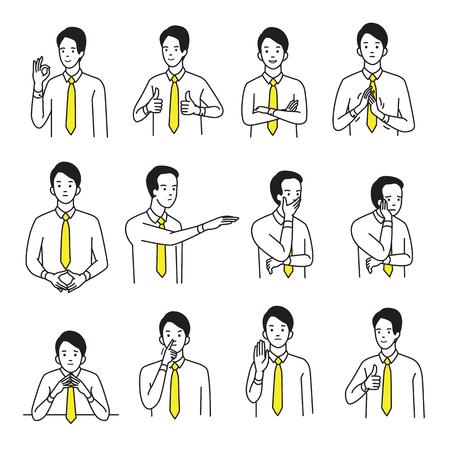 Zestaw ilustracji wektorowych charakter biznesmen z różnych strony znak języka ciała i wyrażenie emocji. Zarys, szkic ręczny, prosty styl.