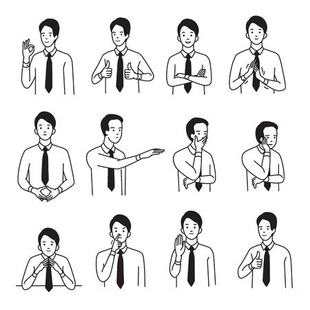 Zestaw ilustracji wektorowych charakter biznesmen z różnych strony znak języka ciała i wyrażenie emocji. Zarys, ręcznie rysowany styl szkicowania, czarno-biały wzór.