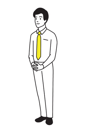 Vector illustration full length of young businessman, standing alone, clasped hands, and smiling. Outline, hand drawn, line art, sketching style, simple design.