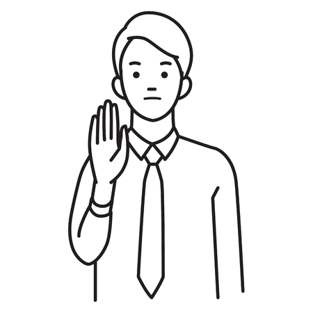 Vector illustration character portrait of businessman, raising hand, body language saying no, stop, or negative expression emotion.