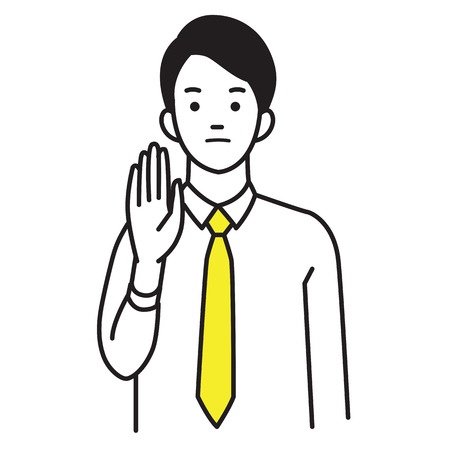 Vector illustration character portrait of businessman, raising hand, palm stretch forwards, body language saying no, stop, or negative expression emotion. 向量圖像