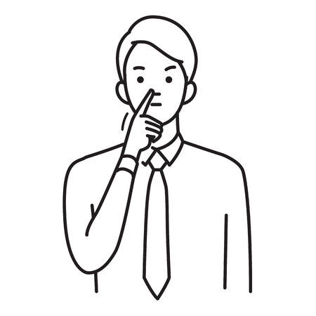 Vector illustration portrait of businessman pointing his finger at the tip of his nose, body language. Outline, linear, hand draw sketch design, simple style.
