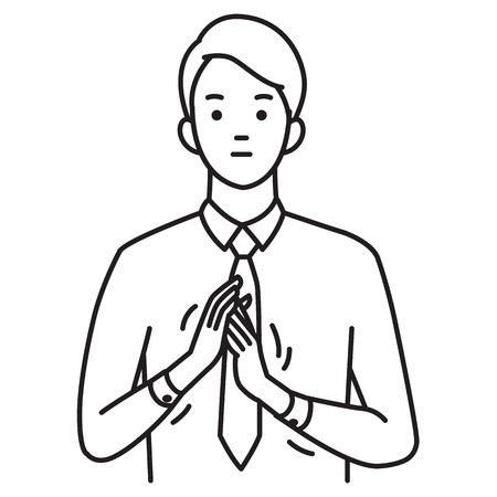 Vector illustration portrait of businessman gesturing in rubbing hands, body language means to excited, simple cold, positive expectation, or thoughtful moment. Coutour, outline, line, hand draw sketching style, simple design.
