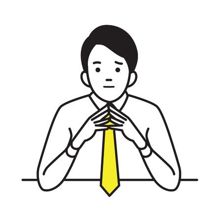 사업가 제기와 첨탑 손, 자신감, 또는 사려 깊은 순간 개념. 벡터 그림 문자 초상화, 개요 손 그리기 스케치 스타일.