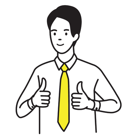 Vector illustration portrait of businessman showing two thumb up gesturing in very good hand sign, concept in satisfy, approval, or well done expression. Outline hand draw sketching design, simple style.