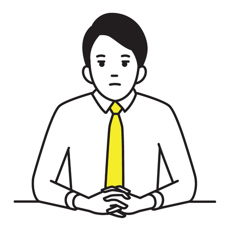 Businessman sitting table, clenched hands with serious, worried, stressed expression. Outline, contour, line hand draw sketch design, simple style. Illustration