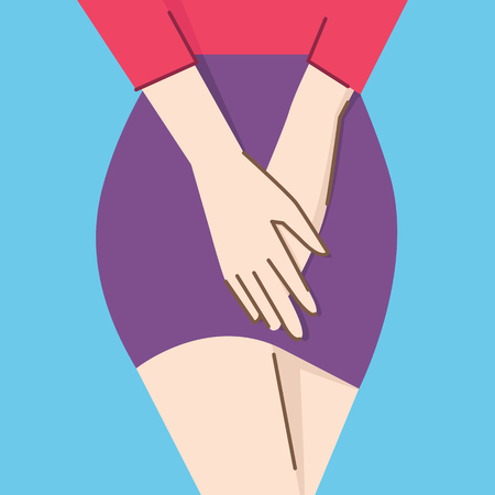 Vector illustration character of close up woman body,  holding hands on her crotch, concept in Honeymoon's Cystitis. Flat design, with linear style.