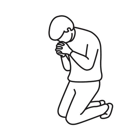 Ilustración vectorial carácter de longitud completa del hombre, de rodillas hacia abajo, la celebración de las manos, rezando, haciendo la adoración, concepto religioso. Esquema, bosquejo dibujado a mano, línea arte, dibujo, dibujos animados, diseño simple.