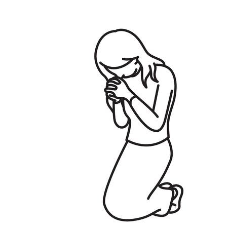 Vector el carácter integral de la mujer, arrodillándose, llevando a cabo las manos, rezando, haciendo la adoración, concepto religioso de la ilustración. Esquema, boceto dibujado a mano, arte de línea, doodle, dibujos animados, diseño simple.