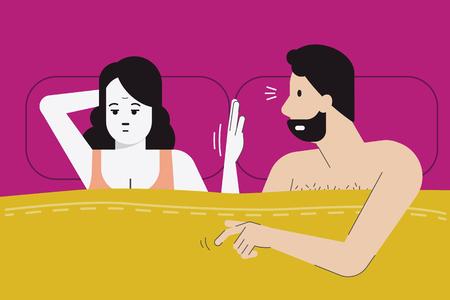 A ilustração do vetor da mulher faz o sinal da mão para nenhum sexo hoje à noite enquanto sente o tédio, menopausa, ou tem o problema do sexo com seu sócio. Conceito de problema de vida casado. Personagem de design plano. Ilustración de vector