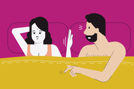 Vector illustration of woman make hand sign for no sex tonight as she feel boredom, menopause, or have sex problem with her partner. Married life problem concept. Flat design character. Çizim