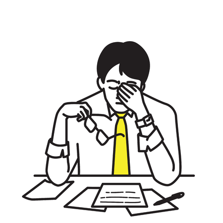 Vector illustration portrait character of businessman, sitting at his table, workplace, covering his face with hands, holding glasses to relax, expressing stressed emotion. Outline, contour, line art, hand drawn, cartoon, doodle, simple color design. Illustration